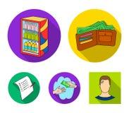 Приобретение, товары, покупки, витрина Значки собрания супермаркета установленные в плоском стиле vector сеть иллюстрации запаса  иллюстрация вектора