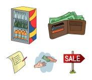 Приобретение, товары, покупки, витрина Значки собрания супермаркета установленные в шарже вводят иллюстрацию в моду запаса символ иллюстрация вектора