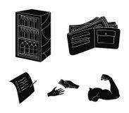 Приобретение, товары, покупки, витрина Значки собрания супермаркета установленные в черном стиле vector иллюстрация запаса символ бесплатная иллюстрация