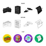 Приобретение, товары, покупки, витрина Значки собрания супермаркета установленные в черной, плоский, запас символа вектора стиля  иллюстрация штока