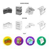 Приобретение, товары, покупки, витрина Значки собрания супермаркета установленные в квартире, плане, monochrome символе вектора с иллюстрация штока