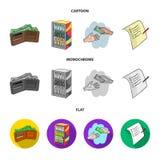 Приобретение, товары, покупки, витрина Значки собрания супермаркета установленные в шарже, плоском, monochrome символе вектора ст иллюстрация вектора