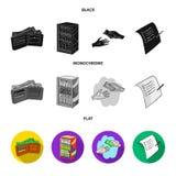 Приобретение, товары, покупки, витрина Значки собрания супермаркета установленные в черном, плоском, monochrome символе вектора с иллюстрация штока