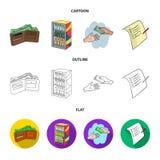 Приобретение, товары, покупки, витрина Значки собрания супермаркета установленные в шарже, плане, плоском запасе символа вектора  бесплатная иллюстрация