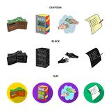 Приобретение, товары, покупки, витрина Значки собрания супермаркета установленные в шарже, черноте, плоском запасе символа вектор иллюстрация штока