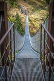 Приостанавливанный мост на горных вершинах стоковые изображения