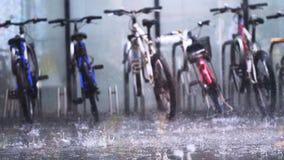 Припаркованная стойка общественного велосипеда арендная на асфальте в лить глубоком дожде Стоковые Изображения