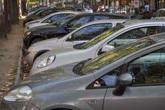 Припаркованные автомобили в Турине Стоковые Изображения RF