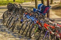 припаркованные bikes Стоковое Изображение RF