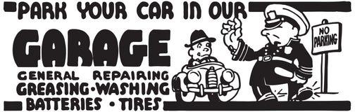 Припаркуйте ваш автомобиль в нашем гараже иллюстрация вектора