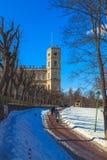 Припаркуйте в предместье Санкт-Петербурга на день зимы солнечный стоковые фотографии rf