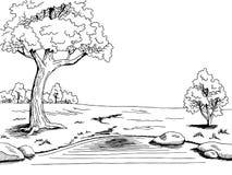 Припаркуйте иллюстрацию ландшафта черноты графического искусства дерева озера белую Стоковое Фото