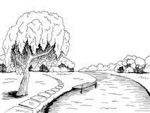 Припаркуйте иллюстрацию эскиза ландшафта черноты графического искусства дерева вербы реки белую Стоковое Изображение RF