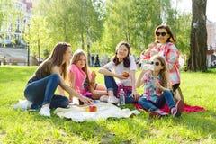 припаркуйте остальные Матери с детьми сидят на траве, кофе питья женщин, детях едят яблока Стоковая Фотография