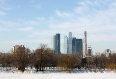 Парк города в зиме стоковые изображения rf