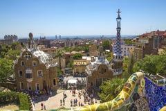 Припаркуйте Guell в Барселоне, Испании на солнечный день Стоковое Изображение RF