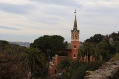 Припаркуйте Guell и дом Gaudi, Барселоны, Испании Стоковая Фотография