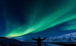 Приполюсное северное сияние в Норвегии стоковое изображение