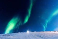 Приполюсное северное сияние в Норвегии Стоковое Фото