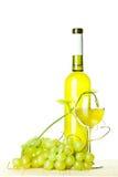 Приправленные вино и ветвь зеленых виноградин Стоковое фото RF