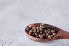 Приправлять - 4 вида горохов перца - изолированный на белой предпосылке Стоковые Фото