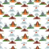 Природа вектора магмы вулкана дуя - вверх с землетрясением извержения вулканической горы кратера дыма горячим естественным безшов иллюстрация вектора