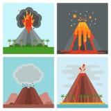 Природа вектора магмы вулкана дуя - вверх с иллюстрацией землетрясения извержения вулканической горы кратера дыма горячей естеств бесплатная иллюстрация