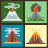 Природа вектора магмы вулкана дуя - вверх с иллюстрацией землетрясения извержения вулканической горы кратера дыма горячей естеств иллюстрация вектора