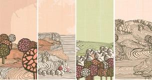 природа знамен средневековая Стоковое Изображение RF