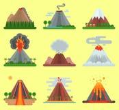 Природа магмы вектора вулкана дуя - вверх при изолированная гора дыма Извержение горячего огня вулкана горы кратера естественное бесплатная иллюстрация