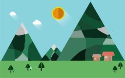Природа ландшафта, плоская иллюстрация Стоковые Фото