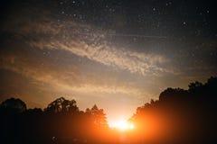 Природа восхода солнца света предпосылки звезды неба захода солнца для дизайна Стоковые Фото