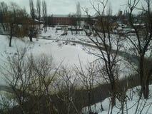 Природа, заводь зимы, зима, красота Стоковое Изображение RF