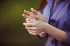 природа зеленого цвета травы девушки контакта лежа Стоковая Фотография
