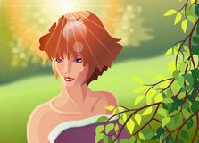 Природа пирофакела иллюстрации солнца kara девушки Иллюстрация штока