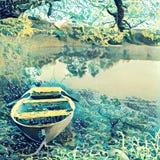 природа утра озера принципиальной схемы шлюпки туманная стоковая фотография