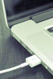 Присоединение порта кабеля USB на компьютере Стоковое Изображение RF
