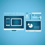 Приспособительная концепция вектора развития графического дизайна сети в плоском стиле Стоковые Изображения RF