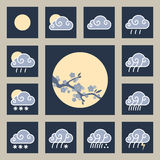Приспособление погоды и лоснистые значки иллюстрация вектора