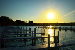 Пристани, восход солнца утра стоковое фото
