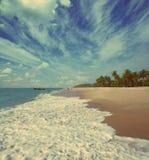 Пристаньте ландшафт к берегу с рыболовами - винтажный ретро стиль Стоковое фото RF