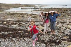 пристаньте гулять к берегу семьи стоковые фотографии rf