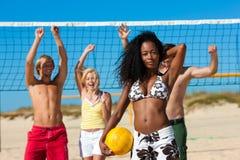 пристаньте друзей к берегу играя волейбол Стоковые Фотографии RF