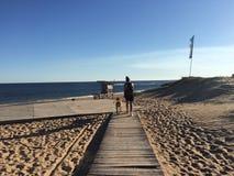 пристаньте девушку к берегу дня меньшяя смотря вода Стоковые Фотографии RF