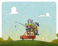 пристаньте детенышей к берегу тропической каникулы песка семьи 4 белых иллюстрация штока