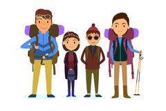 пристаньте детенышей к берегу тропической каникулы песка семьи 4 белых Путешествовать людей Иллюстрация вектора