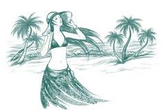 пристаньте женщину к берегу Стоковое фото RF