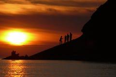 пристаньте заход солнца к берегу Стоковая Фотография RF