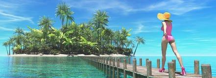 пристаньте красивейшую тропическую женщину к берегу Стоковая Фотография RF