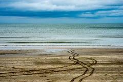Пристаньте к берегу на дождливый день overcast в Bettystown, Ирландии Стоковые Изображения